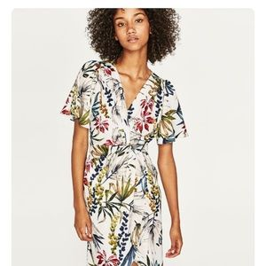 Zara knotted floral print dress
